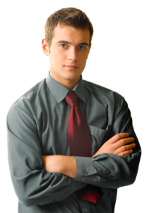 Young handsome business man, isolated on white